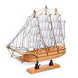 pawaca 22,9cm Handarbeit Home dekorativer Holz Modell Maritimes Dekor Segelboot Boot Modell Decor Spielzeug Crafts