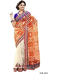 Touch Trends Orange Embroidered Saree| Half- Half Concept With Heavy Border & Patch Work | Save Money Without...