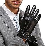 Gants en Cuir Nappa Hommes, doublure en peluche parfait pour l'hiver dattiloscrivere/conduire disponible, Noir, L = 8,9'