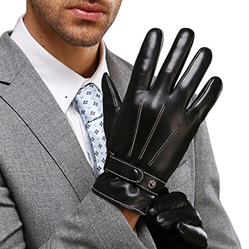 Guantes Nappa Cuero Hombre, con forro felpa perfecto para inverno mecanografiar/conducir disponible, Negro, L = 8,9'