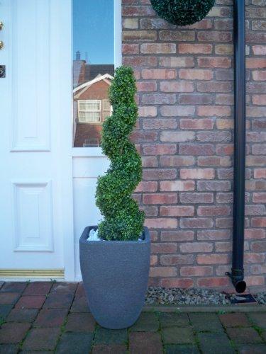 Best Artificial™, 2 künstliche,spiralförmig geschnittene Buchsbäume mit 90 cm Höhe, vor dem Verblassen durch UV-Licht geschützt