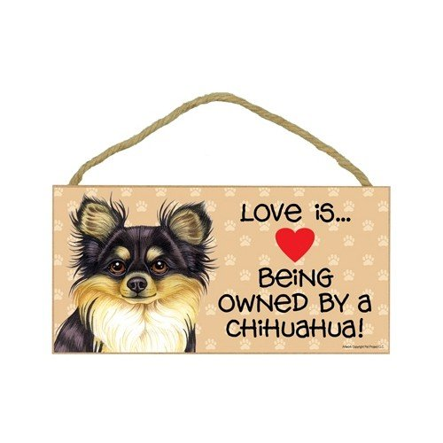 ed, black and tan) (Love is being owned by) Door Sign 5''x10'' by SJT. (Black Tan Chihuahua)