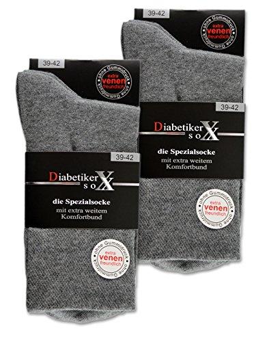 6 Paar Socken mit Komfortbund ohne Gummi & ohne Naht 97% Baumwolle Damen & Herren versch. Farben (39-42 (Damen), Grau)