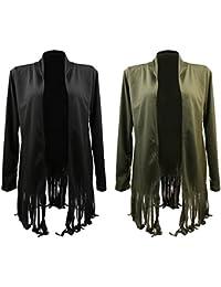 Phenovo Phenovo Women's Long Sleeve Tassel Shawl Cardigan Tops Coat XL Army green