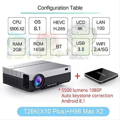 SMEI Projektor Full Hd Beamer Video Led Native 1080p 5500 Lumen T26l Home Cinema T26K Add H96max Lcd Ceiling Support
