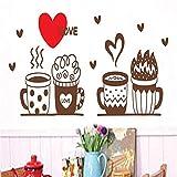 yaoxingfu Diseño Simple patrón de café Amor Grande calcomanías de Papel Tapiz de Cocina Arte Vinilo Pegatinas de Pared para la Sala de café murales43X57 cm