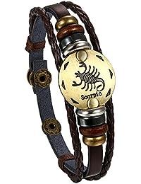Flongo Pulseras del horóscopo zodiaco, Retro vintage brazalete de hombre mujer, Dorado simbolo de estrellas de buena suerte, Buen regalo de Navidad