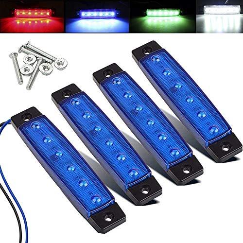 Electrely 4 Pezzi Luci di posizione laterali indicatori laterali per rimorchio, 12V 6 LED, universali per rimorchio, camion, caravan, camper, trattore, bus (blu)