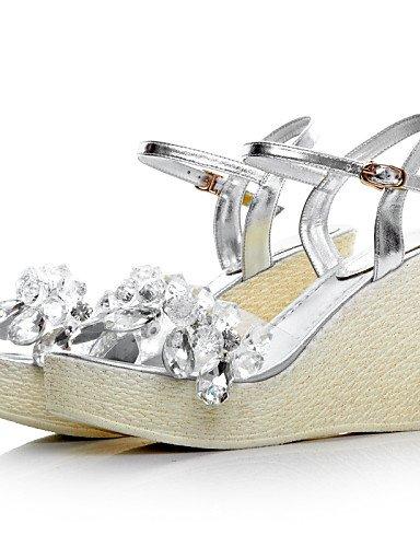 UWSZZ IL Sandali eleganti comfort Scarpe Donna-Sandali-Ufficio e lavoro / Formale / Casual-Zeppe / Plateau / Con cinghia-Zeppa-Di pelle-Argento Silver
