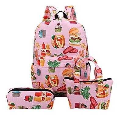 HCFKJ Schultasche, 3Pcs Mode Mädchen Student Muster Leinwand Schule Rucksäcke + Handtasche + Stift Tasche