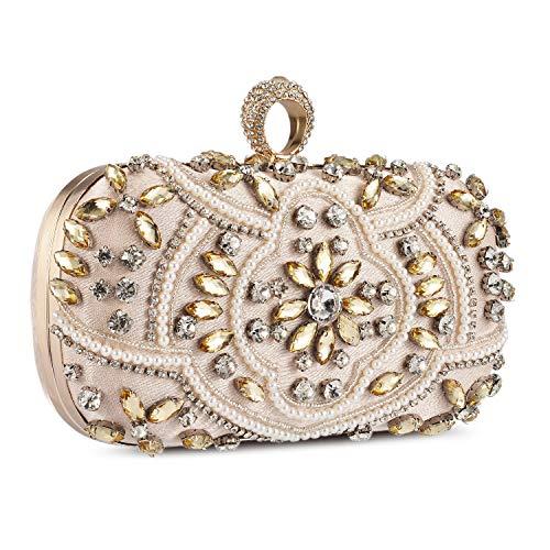 UBORSE Abendtasche Damen Diamant Clutch Bag Kette Shiny Strass Handtasche Klein Tasche für Hochzeit Party - Champagner Gold -