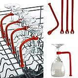 Routinfly weinglas halterung Stellen Sie Silikon-Weinglas-Spülmaschine-Becher-Halter-Safer-Stemware-Retter ein (4 Stück, rot)