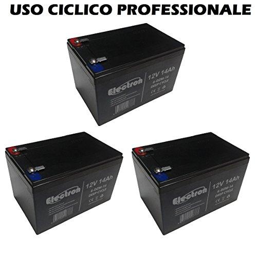 Kit de 3batteries au plomb rechargeables 12V 36V 14Ah, batterie pour vélos électriques, quads électriques, trottinettes électriques, connecteurs Faston 6,35mm, Deep Cycle 6-DZM-146DZM14