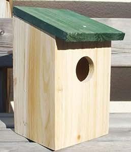 Vogelhaus Nistkasten Holz mit grünem Schrägdach