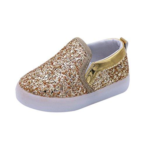 Kinder Schuhe mit LED Licht, FNKDOR Mädchen Jungen Baby Lauflernschuhe, 21-30 (23 Fußlänge:14CM, Gold)