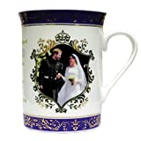 Royal Hochzeit Prince Harry & Meghan Souvenir Gold vergoldet Keramik lila Tasse