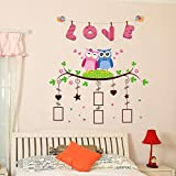 GoldenCart I 3D LOVE I Hanging Photo Frame Wall Stickers For Living Room Kids Room I Family Tree Wall Stickers With Photo Frames I Romance Theme I Goddess Laxmi's Cute Owls In Deep Love And Showering Hearts On Your Family Photos I Complete Family Bonding