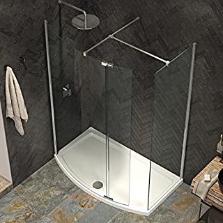 Bathroom Supastore Kudos Ultimate 2 8mm Curved Walk In Shower Enclosure 1700 x 700 with Shower Tray