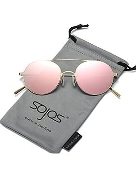 SojoS Schick Classici Ponti Retrò in Metallo Specchio Rotondo Occhiali da Sole Donna Uomo SJ1068