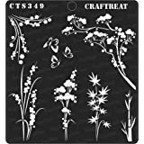"""thecraftshop CrafTreat Wild Flowers Reusable Painting Template Stencil for Art and Craft, Mixed Media, Home Decor, DIY Albums, Card Making (6""""X6"""")"""