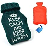 Keep Calm Keep Warm Heat Pack Camping Reusable Hot Water Bottle Knitted Cover (Green)
