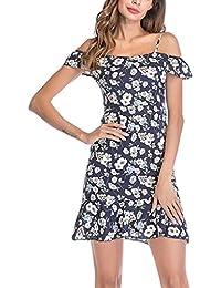 Vestido de mujer con hombro frío – Saihui gasa floral estampado flores Hem playa Mini vestido
