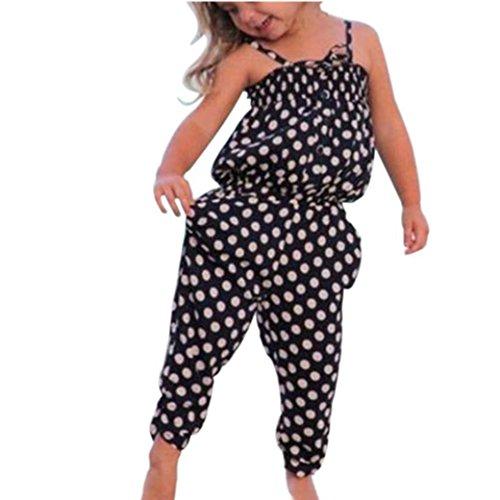 Bekleidung Longra Kleinkind Baby Kinder Mädchen Sommer Gurt Dot Muster Strampler Overall Rompers Jumpsuits Harem Hosen Sommer Kleidung Outfits(1-7Jahre) (100CM 2-3Jahre, Black)