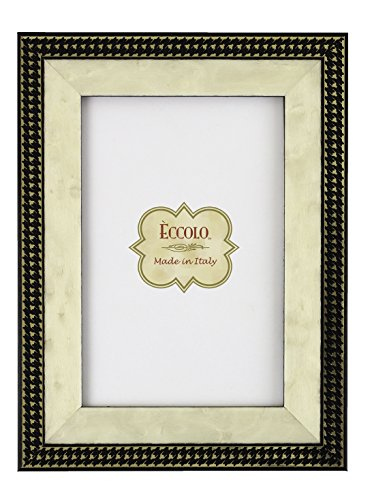 Eccolo Gold Onlay Photo Frame, Black Houndstooth, 8 x 10-Inch