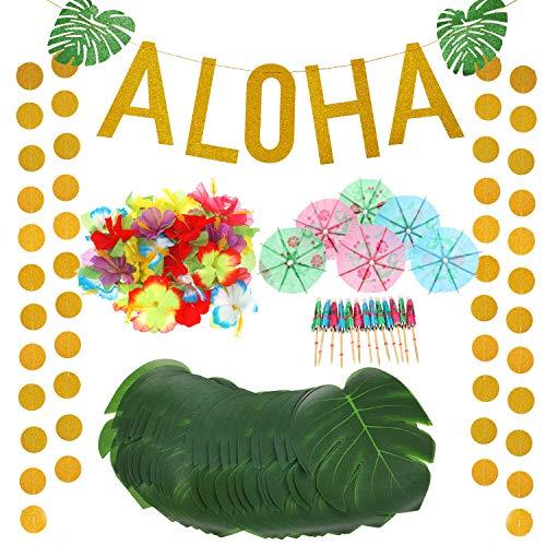189 Stücke Hawaiian Tropisch Luau Thema Party Dekorationen Satz inklusiv Gold Glitzer Aloha Banner Misch Farbe Papier Regenschirme Tropische Palm Simulation Blätter Künstliche Hibiskus Luau Blumen - Hibiskus-blumen Papier