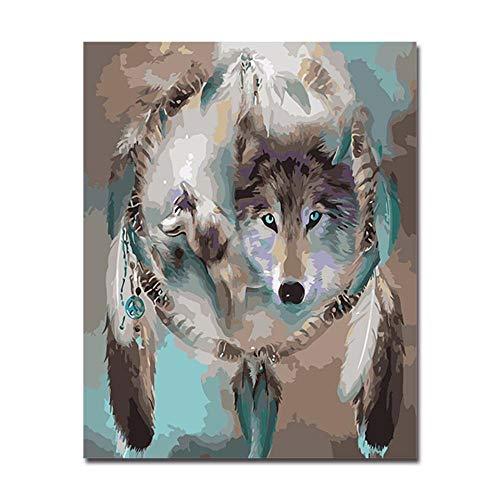 Pintura Pintura De Bricolaje Por Números Pintura A Mano Para Colorear Lobo Animales Óleo Cuadros Arte De La Pared Dibujo Atrapasueños En Lienzo Sala De Estar Decoración 16*20 Pulgadas,Sin Marco