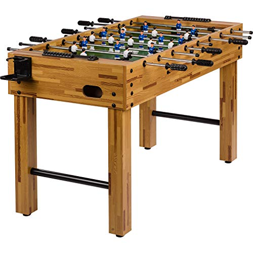 Maxstore Table football Glasgow in beech incl. Accessory set, 2 drink holders, height-adjustable feet, seamlessly raised playing fields, table soccer, kicker, football table
