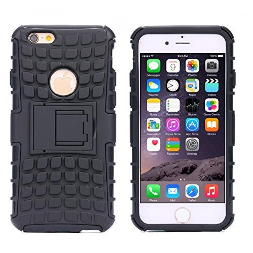 ECENCE APPLE IPHONE 6 6S (4,7) OUTDOOR HüLLE + PANZERGLAS CASE COVER HYBRID BUMPER SILIKON PANZERFOLIE 43010107 Schwarz
