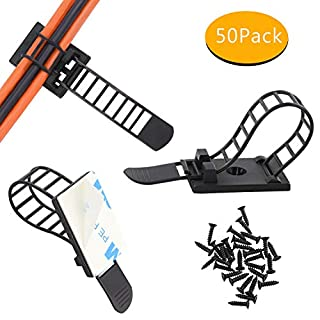 Adjustable Self-Adhesive Nylon Cable Ties Cable Clamps with Optional Screw Cord Clamps for Wire Management(50pack)