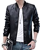 Men's Casual Jacket Faux PU Leather Stand-Collar Biker Outerwear Slim Fit Coat