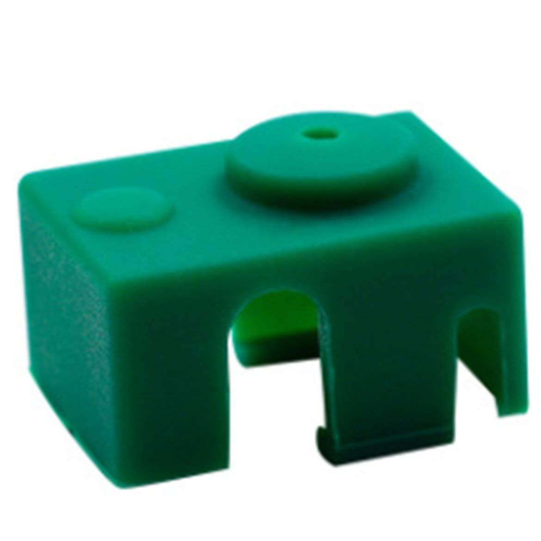 Housse en silicone protection chaussette coquille haute température pour accessoires d'imprimante 3D bloc 3D aluminium V6 PT100 – vert