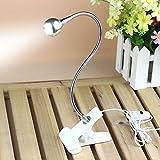 Rrimin USB Flexible Reading LED Light Clip-on Beside Bed Table Desk Lamp (White Light White)