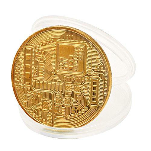 TWIFER Gold überzogene Bitcoin Münze Sammlerstück BTC Münze Kunst Sammlung Physikalisch (38mm, Gold) - 2