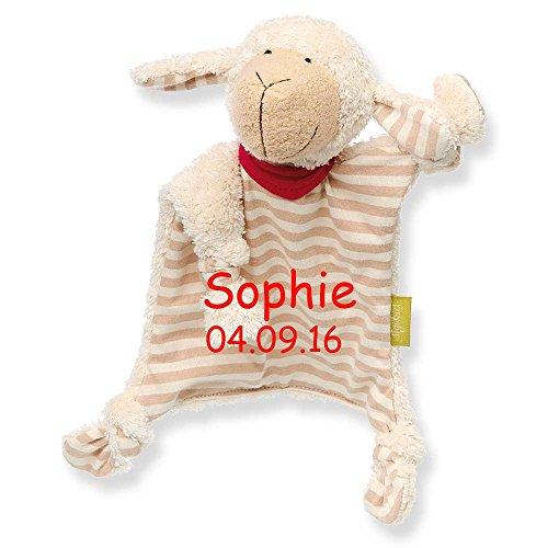 Sigikid Schmusetuch green mit Namen bestickt Baby Geschenk zur Geburt Schnuffeltuch Hase Maus Bär (Schaf)