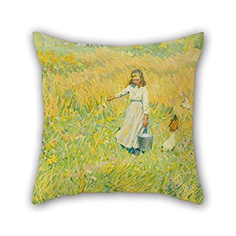 Alphadecor Oil Painting Helen Galloway McNicoll - The Little Worker Christmas Pillow Cases 16 X 16 Inches / 40 By 40 Cm Gift Or Decor For Lounge Valentine Birthday Floor Her Christmas - Twice