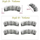 Beauties Factory 3D Triple Magnetic Handmade False Eyelashes + Tweezers No Glue Natural Extension (B Volume)
