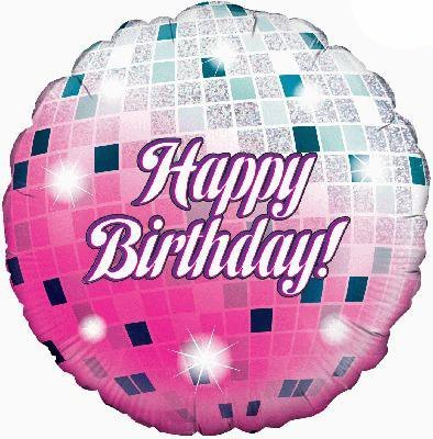 1 x Happy Birthday Glitterball Holographic Foil Balloon 18