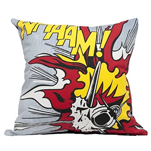 Roy Lichtenstein Whaam! Explosion Cushion Cover Measures 45 X 45