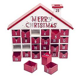 Aiviel Calendario dell'avvento in Legno di Natale con 25 cassetti, Calendario per Il Conto alla rovescia di Natale per Bambini per Decorazioni Natalizie