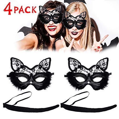 Gejoy 4 Stücke Venezianische Maskerade Maske mit Katze Schwanz Katze Spitze Maske für Kostüm (Katze Schwänze Kostüm)