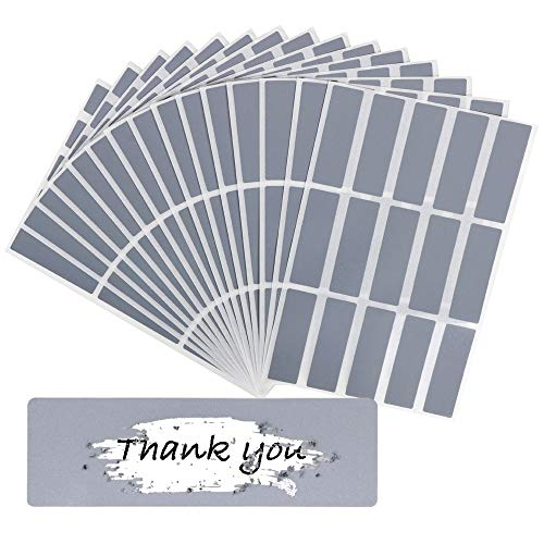 VINFUTUR 15 Fogli 225 pz Gratta e Vinci Adesivo Etichette Scratch Sticker per Regalo Biglietto Fai da Te Argento
