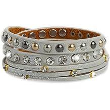 CASPAR - Bracelet lanière en cuir avec rivets ronds et strass style métallique - Plusieurs coloris - AZ326