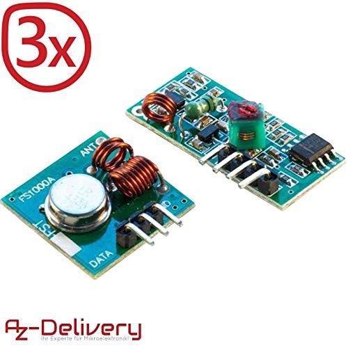 AZDelivery ⭐⭐⭐⭐⭐ 3 x 433 MHz Funk - Sende und Empfänger Modul Set für Raspberry und Arduino Wireless Transmitter Receiver mit gratis eBook! Sender