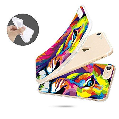 finoo | iPhone 8 Plus Weiche flexible Silikon-Handy-Hülle | Transparente TPU Cover Schale mit Motiv | Tasche Case Etui mit Ultra Slim Rundum-schutz | Princess white Löwe gemalt