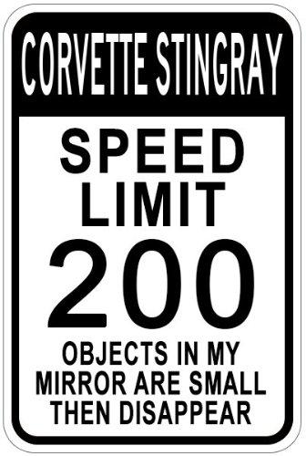 Chevy Corvette Stingray Speed Limit Schild, Aluminium, weiß, 12 x 18 Inches -