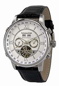 Calvaneo 13061–Armbanduhr, Lederband schwarz